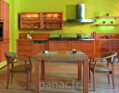 Meubles de cuisine entièrement en bois naturel