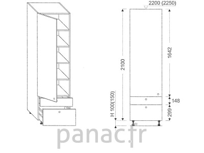 Colonne de rangement de cuisine K-45/2100 C2 L