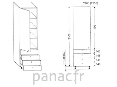 Colonne de rangement de cuisine K-40/2100 S4 L