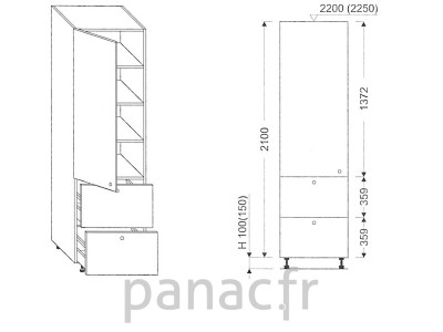 Colonne de rangement de cuisine K-40/2100 T2 L