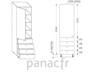 Colonne de rangement de cuisine K-50/2100 T4 L