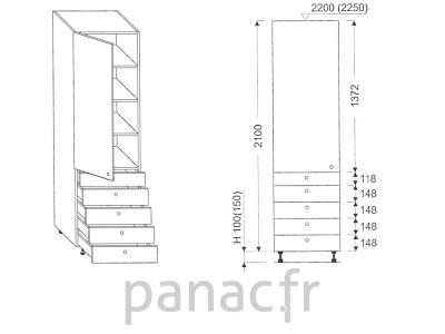 Colonne de rangement de cuisine K-45/2100 T5 L