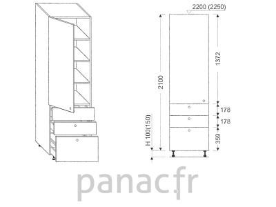 Colonne de rangement de cuisine K-40/2100 T6 L