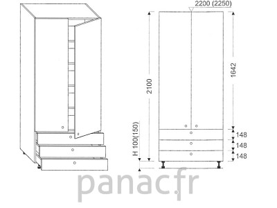Colonne de rangement de cuisine K-80/2100 C3