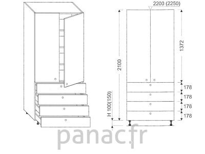 Colonne de rangement de cuisine K-90/2100 T4