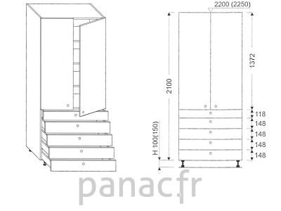 Colonne de rangement de cuisine K-90/2100 T5