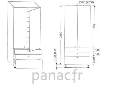 Colonne de rangement de cuisine K-90/2100 S3