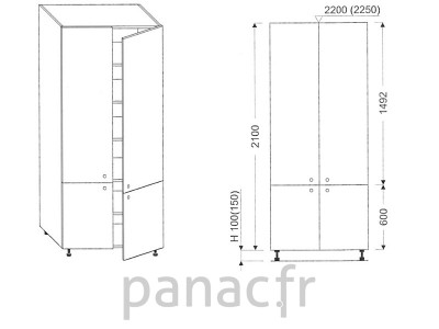 Colonne de rangement de cuisine K-90/2100 S