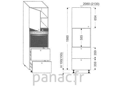 Colonne électromenager de cuisine KP-60/1980 T2 L