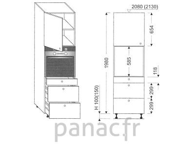Colonne électromenager de cuisine KP-60/1980 T3 L