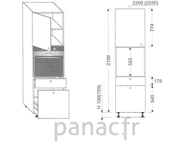 Colonne électromenager de cuisine KP-60/2100 T8 L