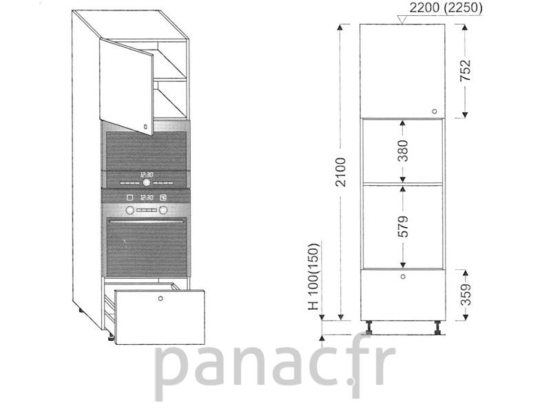 Colonne lectromenager de cuisine kpm 60 2100 b1 l for Hauteur colonne cuisine