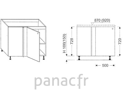 Meuble bas de cuisine, d'angle DN-115 DP