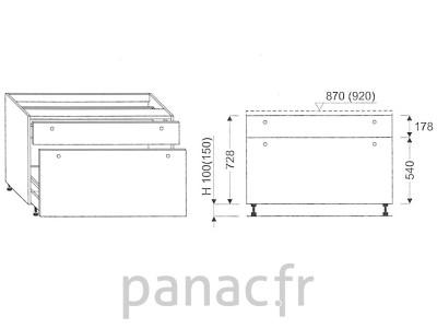 Meuble bas de cuisine, tiroirs D-80 ST 2