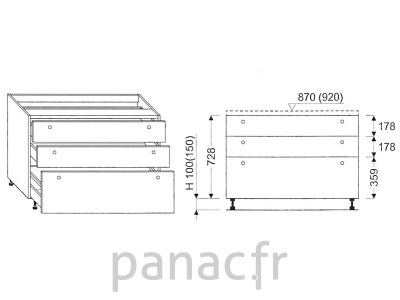 Meuble bas de cuisine, tiroirs D-90 ST 3