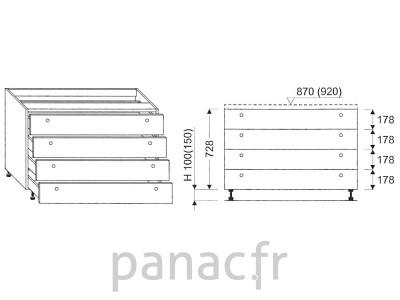 Meuble bas de cuisine, tiroirs D-80 ST 4