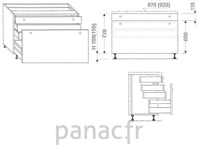Meuble bas de cuisine, tiroirs D-100 STM 1 SU 2