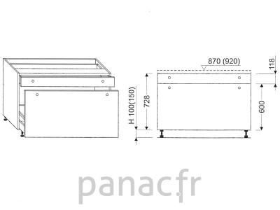 Meuble bas de cuisine, tiroirs D-80 STM 1