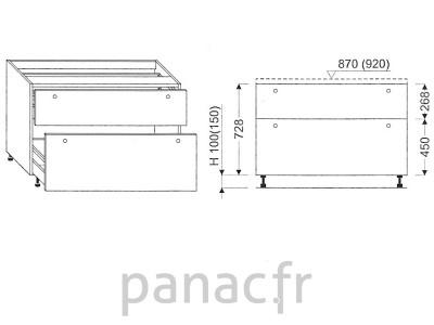 Meuble bas de cuisine, tiroirs D-100 STM 2
