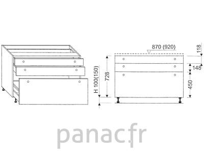 Meuble bas de cuisine, tiroirs D-100 STM 3