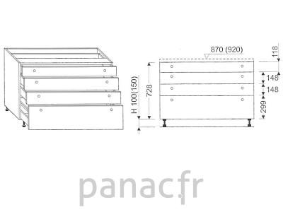 Meuble bas de cuisine, tiroirs D-70 STM 4