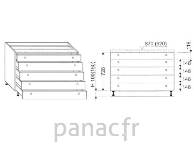 Meuble bas de cuisine, tiroirs D-120 STM 5