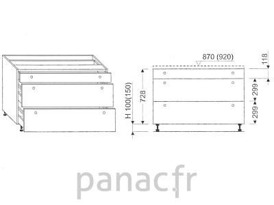 Meuble bas de cuisine, tiroirs D-80 STM