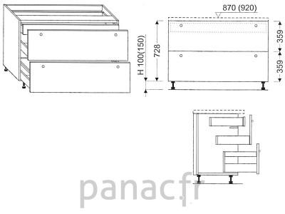 Meuble bas de cuisine, tiroirs D-70 ST U