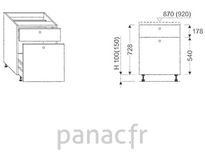 Meuble bas de cuisine, tiroirs D-30 ST 2