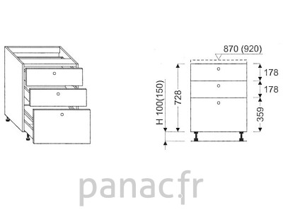 Meuble bas de cuisine, tiroirs D-30 ST 3