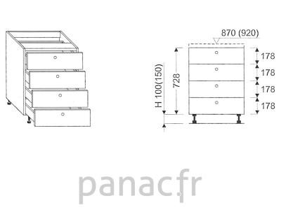 Meuble bas de cuisine, tiroirs D-45 ST 4