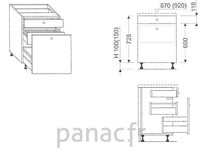 Meuble bas de cuisine, tiroirs D-30 STM 1 SU