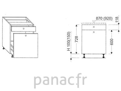 Meuble bas de cuisine, tiroirs D-40 STM 1