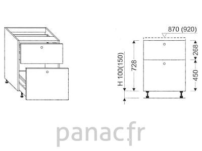 Meuble bas de cuisine, tiroirs D-60 STM 2