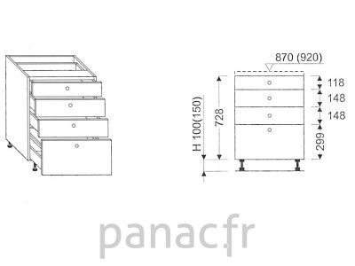 Meuble bas de cuisine, tiroirs D-40 STM 4