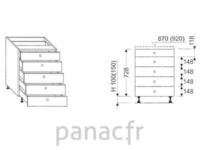 Meuble bas de cuisine, tiroirs D-30 STM 5