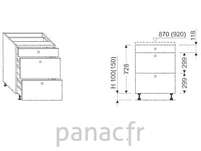 Meuble bas de cuisine, tiroirs D-35 STM