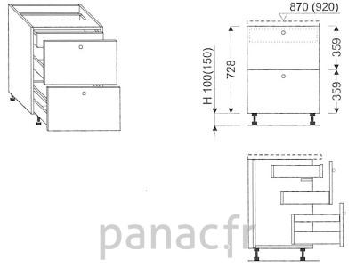 Meuble bas de cuisine, tiroirs D-40 ST U
