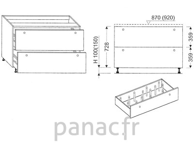 Meuble bas de cuisine, tiroirs D-100 ST