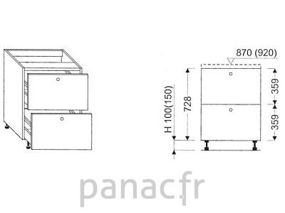 Meuble bas de cuisine, tiroirs D-45 ST