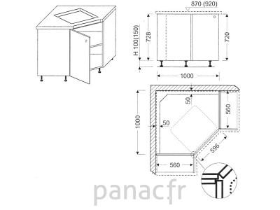 Meuble d'angle sous plaque de cuisson OC-100 NSL