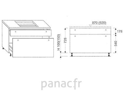Meuble sous plaque de cuisson OC-120 ST 2