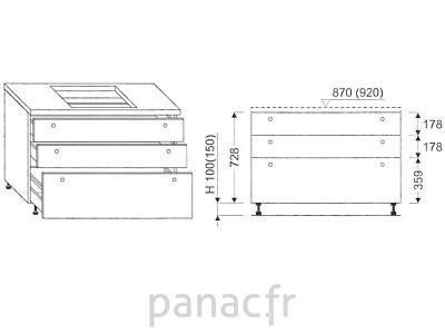 Meuble sous plaque de cuisson OC-70 ST 3