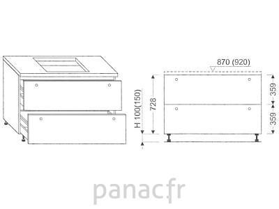 Meuble sous plaque de cuisson OC-80 ST