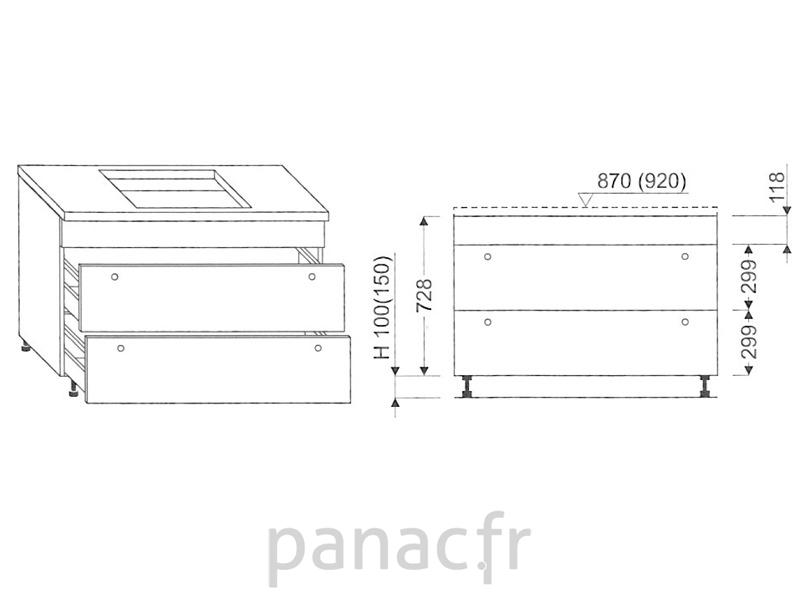 meuble sous plaque de cuisson oc 100 stm. Black Bedroom Furniture Sets. Home Design Ideas