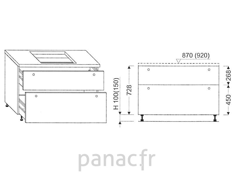 meuble sous plaque de cuisson oc 90 stm 2. Black Bedroom Furniture Sets. Home Design Ideas