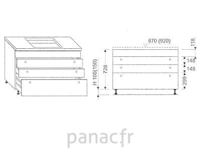 Meuble sous plaque de cuisson OC-90 STM 4