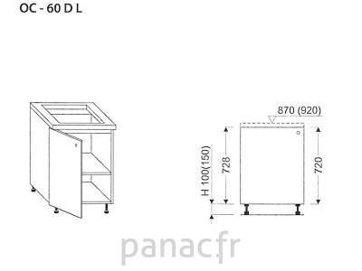 Meuble sous plaque de cuisson OC-60 DL
