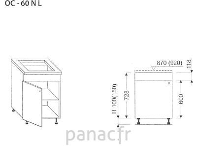 Meuble sous plaque de cuisson OC-60 NL