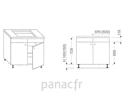 Meuble sous plaque de cuisson OC-80 N